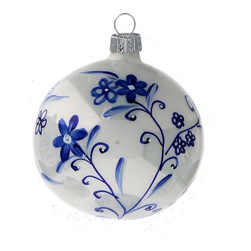 Christmas tree decoration white blown glass blue flowers 80 mm 6 pcs 2