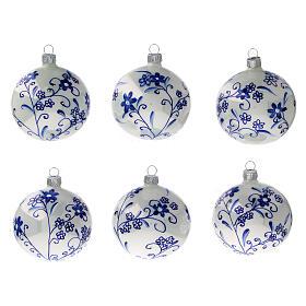Adorno árbol Navidad vidrio soplado blanco flores azules 80 mm 6 piezas s1