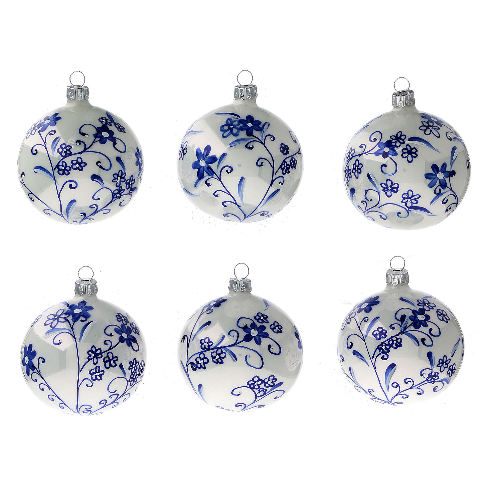 Décoration sapin Noël verre soufflé blanc fleurs bleues 80 mm 6 pcs 4