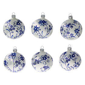 Floral Christmas ball ornaments blown glass blue 80 mm 6 pcs s1