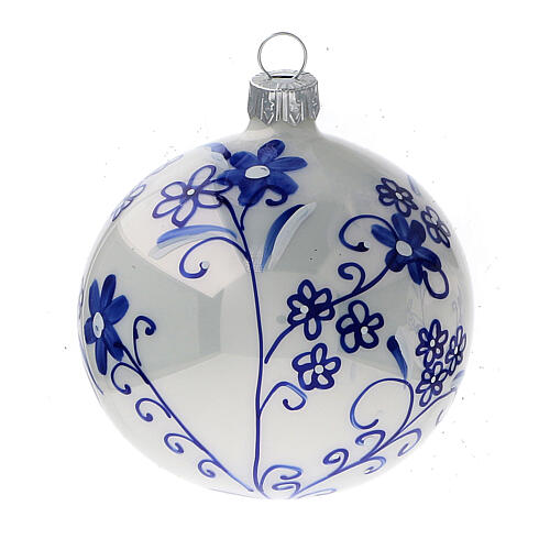 Floral Christmas ball ornaments blown glass blue 80 mm 6 pcs 3