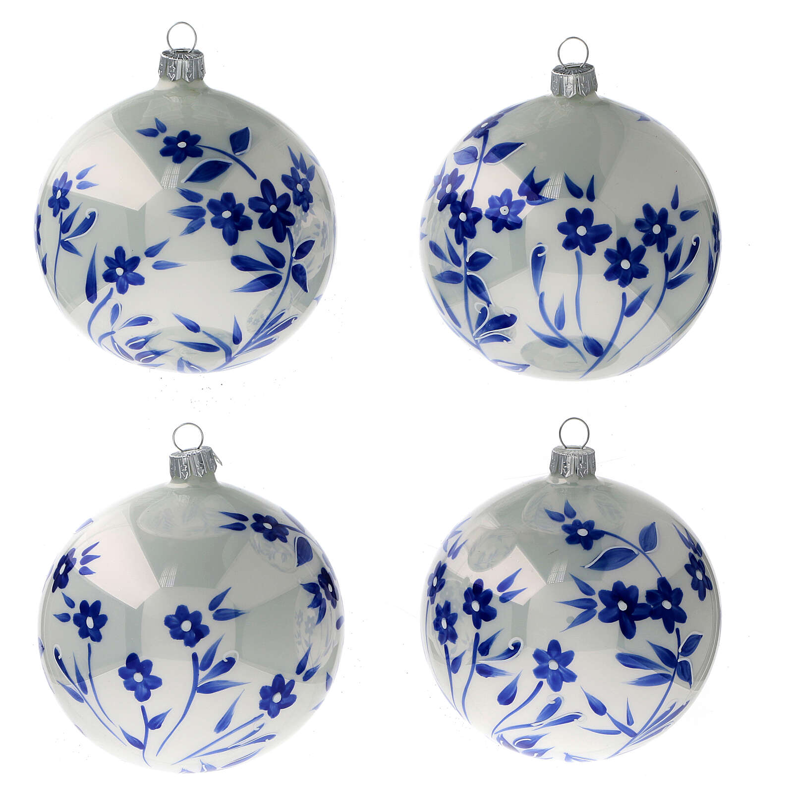 Christmas ball white flowers blue stylised blown glass 100 mm 4 pcs 4