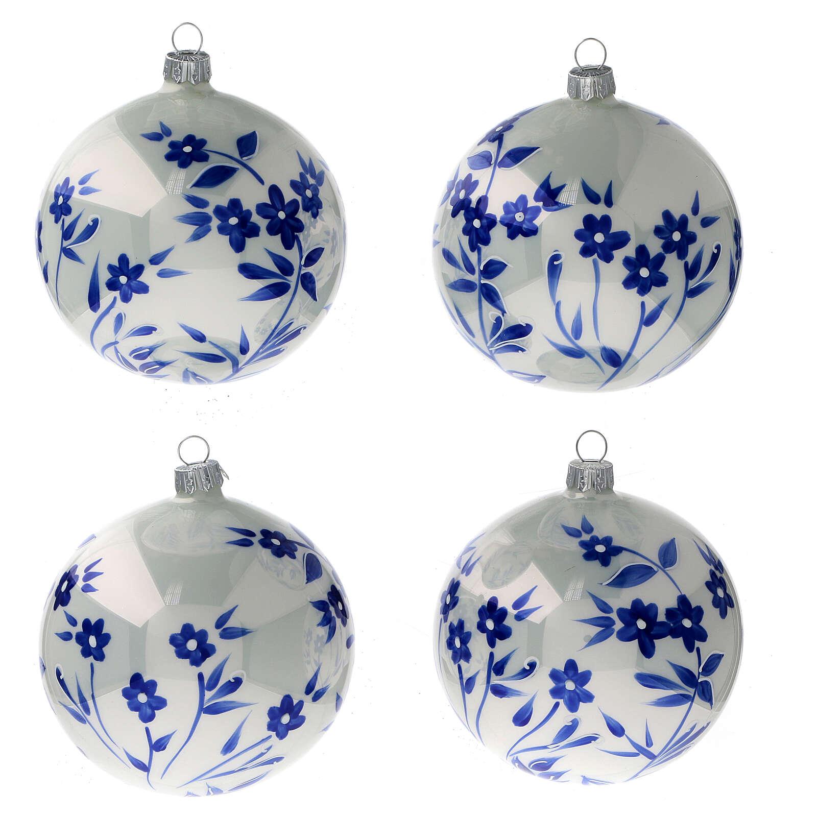 Pallina Natale bianca fiori blu stilizzati vetro soffiato 100 mm 4 pz 4