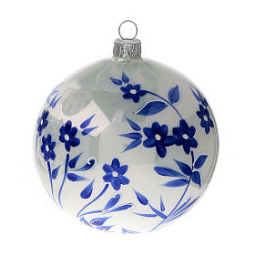 Pallina Natale bianca fiori blu stilizzati vetro soffiato 100 mm 4 pz s2