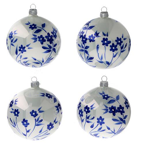 Pallina Natale bianca fiori blu stilizzati vetro soffiato 100 mm 4 pz 1