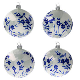 Bolas árvore de Natal vidro soprado branco com flores estilizadas azuis 100 mm 4 unidades s1