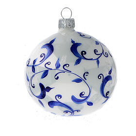 White ball Christmas tree branches blue blown glass 80 mm 6 pcs s3
