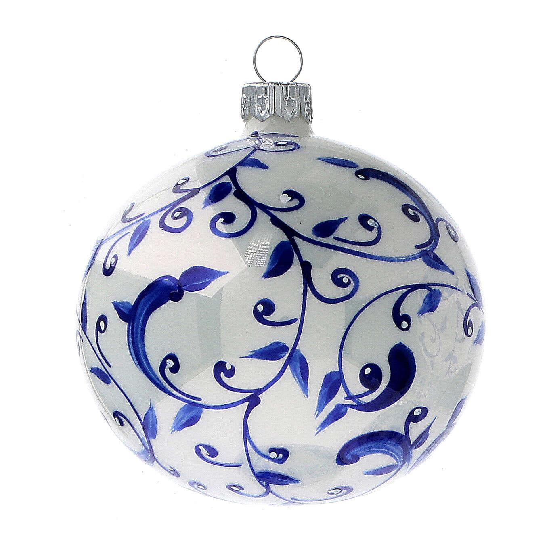 Boule blanche sapin Noël branches bleues verre soufflé 80 mm 6 pcs 4