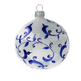 Boule blanche sapin Noël branches bleues verre soufflé 80 mm 6 pcs s3