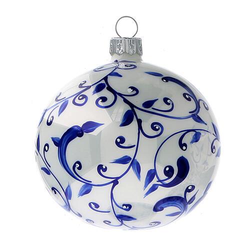 Boule blanche sapin Noël branches bleues verre soufflé 80 mm 6 pcs 2