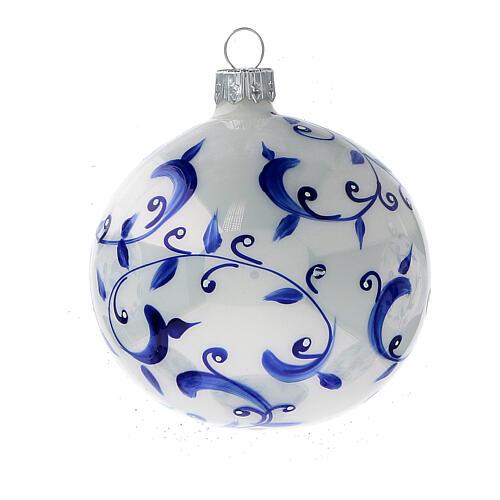 Boule blanche sapin Noël branches bleues verre soufflé 80 mm 6 pcs 3