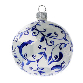 Bolas árvore de Natal vidro soprado branco com ramos azuis 80 mm 6 unidades s2