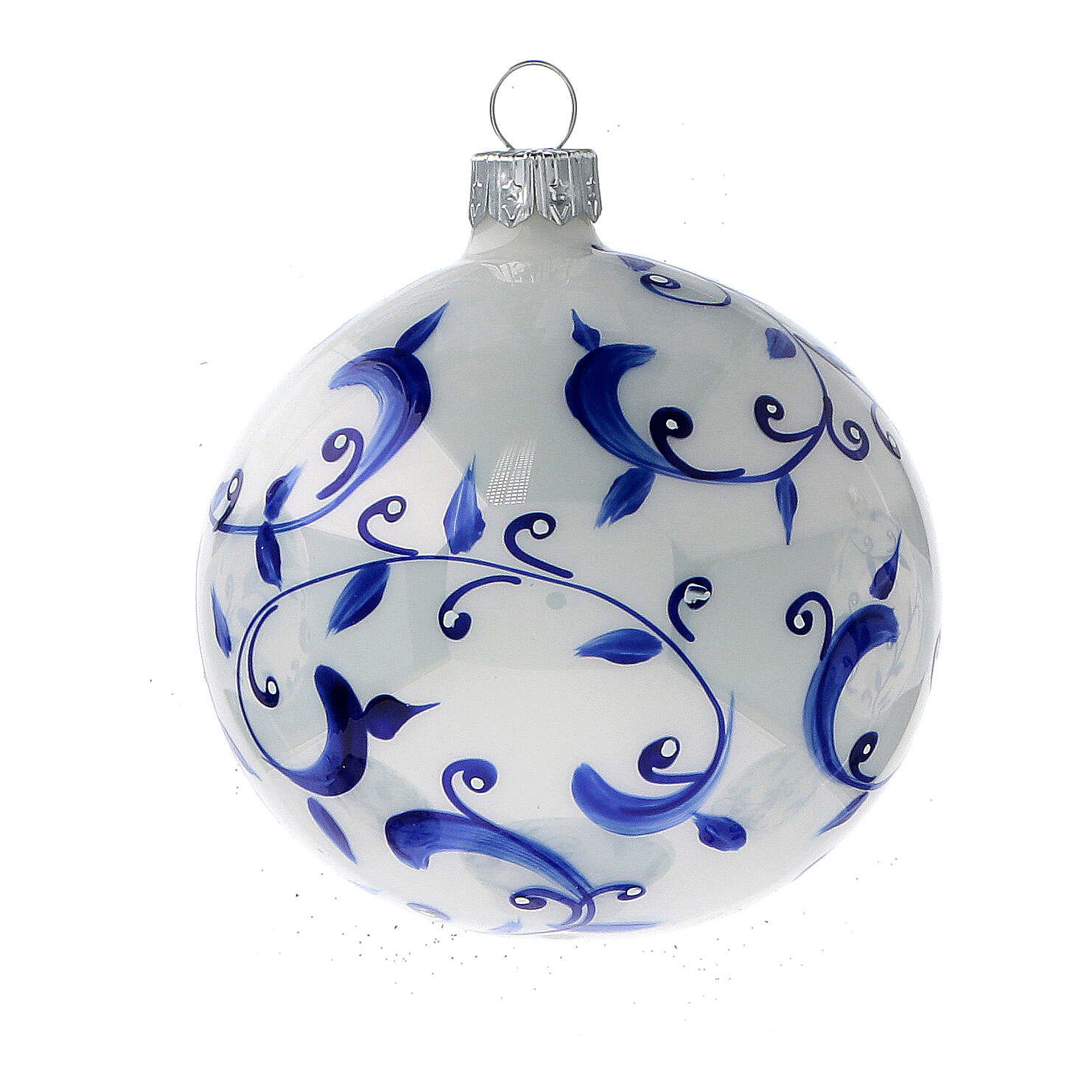 White Christmas balls with blue vines 80 mm 6 pcs 4