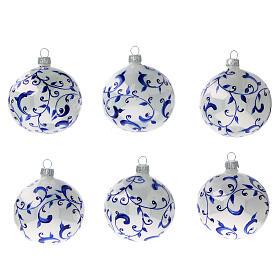 White Christmas balls with blue vines 80 mm 6 pcs s1