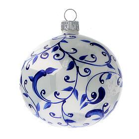 White Christmas balls with blue vines 80 mm 6 pcs s2