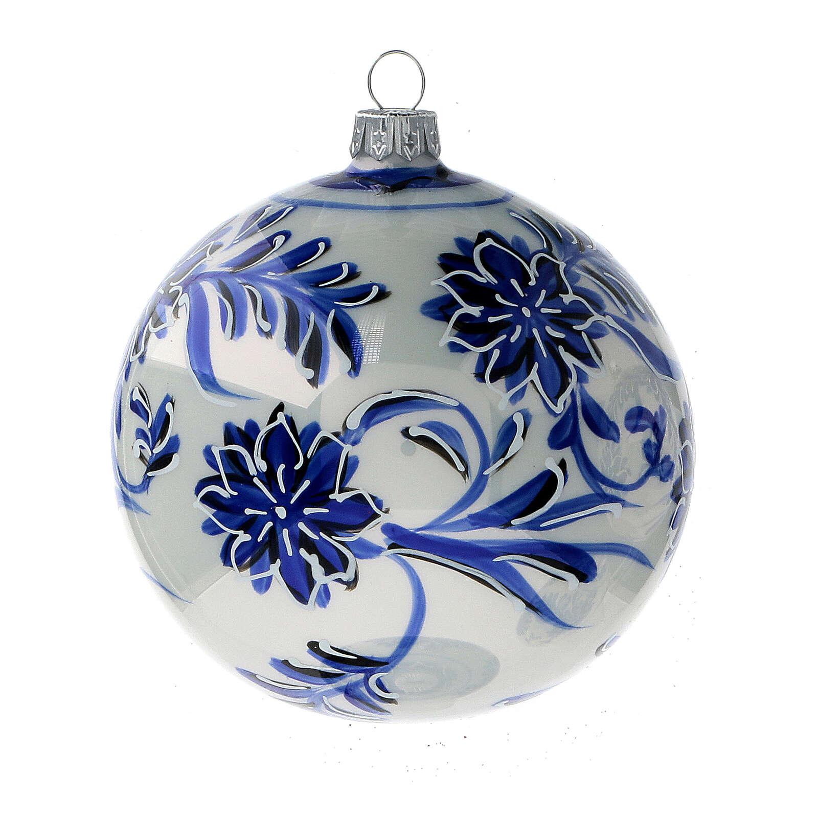 Boule sapin Noël verre soufflé fleurs bleues 100 mm 4 pcs 4