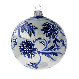Boule sapin Noël verre soufflé fleurs bleues 100 mm 4 pcs s2