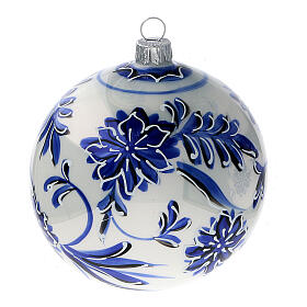 Boule sapin Noël verre soufflé fleurs bleues 100 mm 4 pcs s3