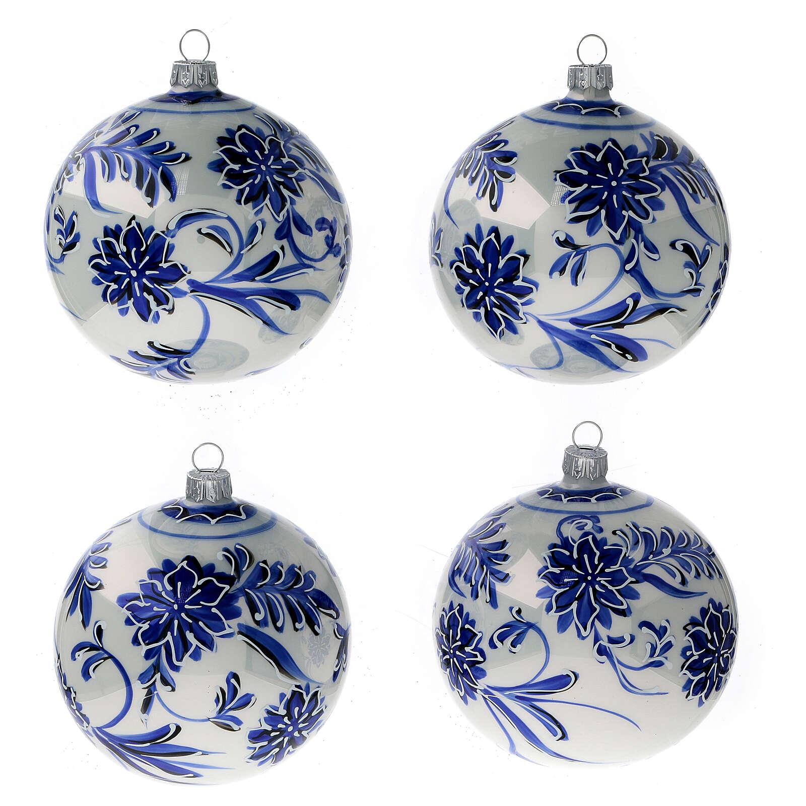 Palline albero Natale vetro soffiato fiori blu 100 mm 4 pz 4