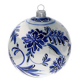 Palline albero Natale vetro soffiato fiori blu 100 mm 4 pz s3