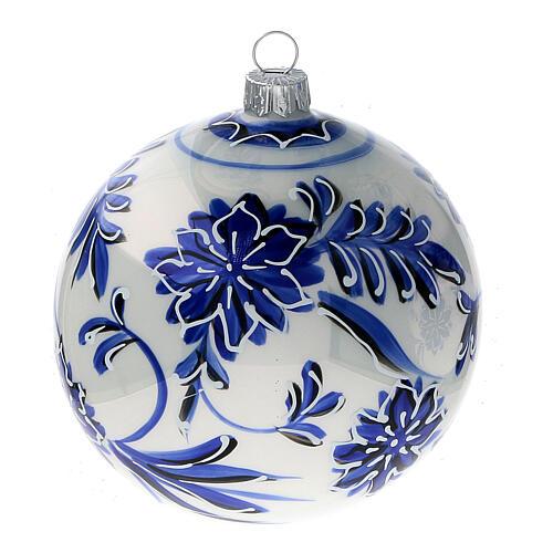 Palline albero Natale vetro soffiato fiori blu 100 mm 4 pz 3