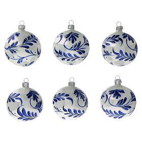 Christmas ball white blown glass blue leaves 80 mm s1