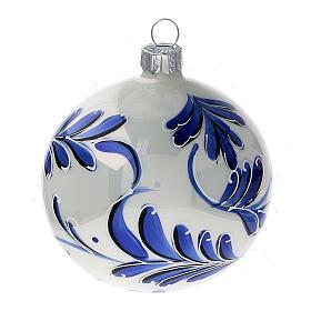 Christmas ball white blown glass blue leaves 80 mm s2