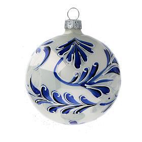 Christmas ball white blown glass blue leaves 80 mm s3