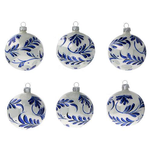 Christmas ball white blown glass blue leaves 80 mm 1