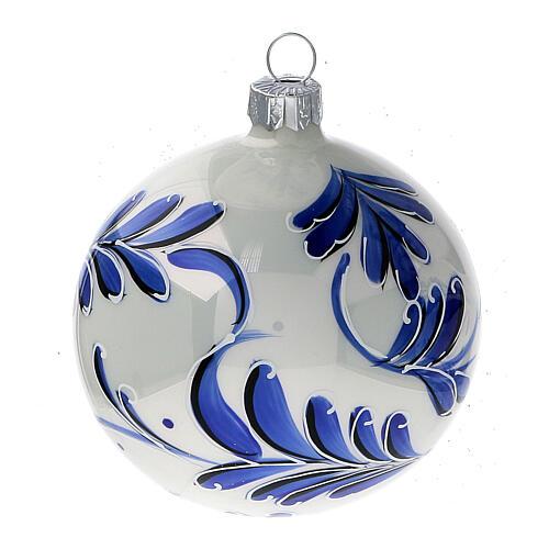 Christmas ball white blown glass blue leaves 80 mm 2