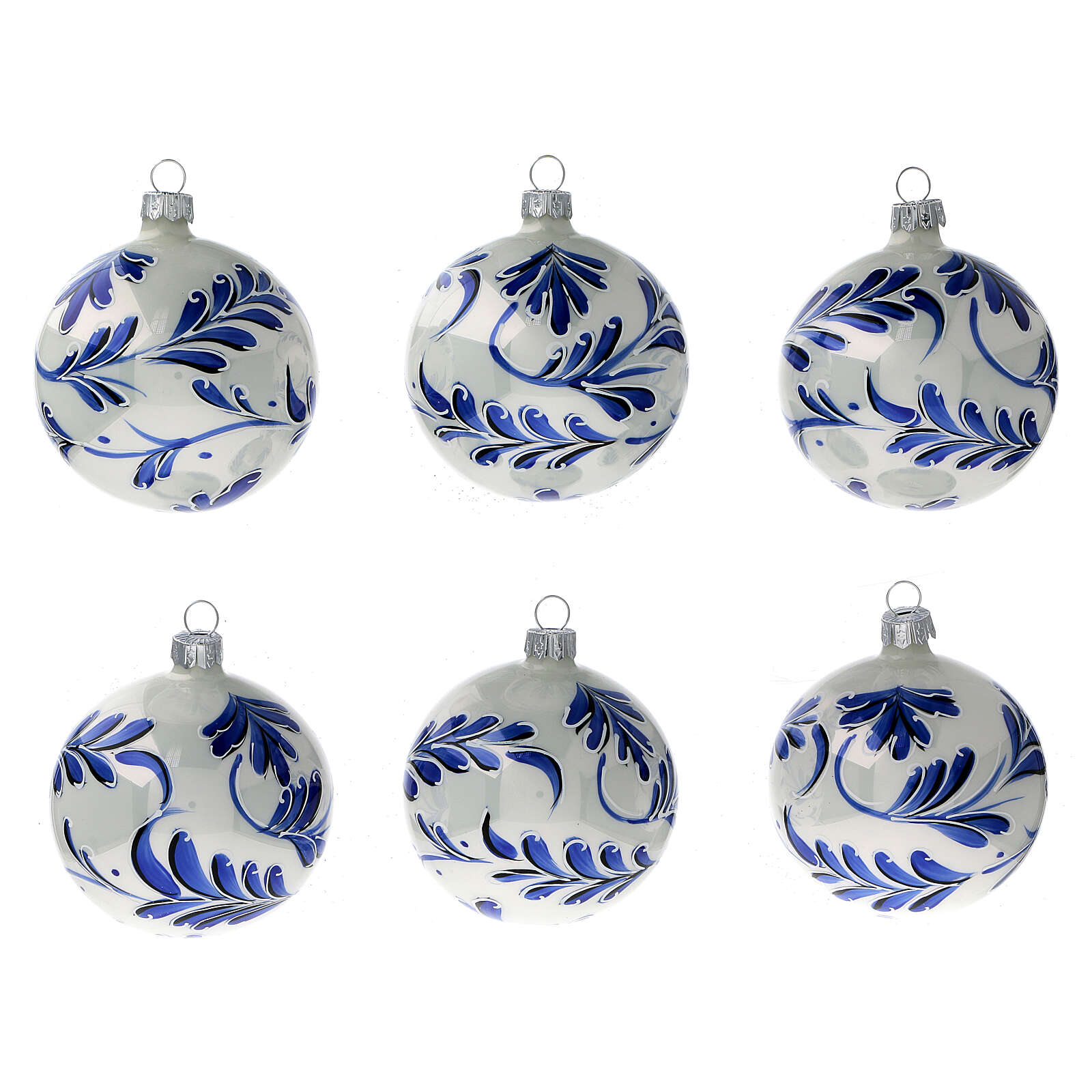 Christmas ball ornaments blue flowers blown glass 80 mm 6 pcs 4