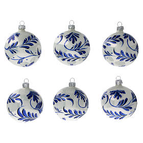 Christmas ball ornaments blue flowers blown glass 80 mm 6 pcs s1