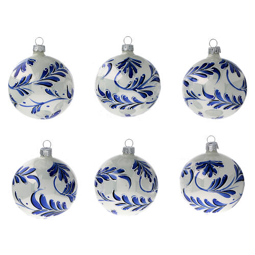 Christmas ball ornaments blue flowers blown glass 80 mm 6 pcs 1