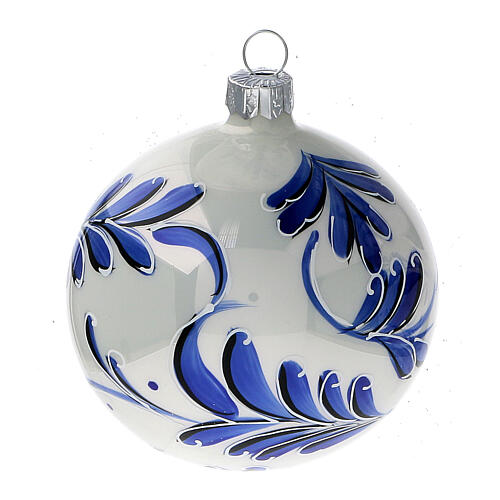 Christmas ball ornaments blue flowers blown glass 80 mm 6 pcs 2