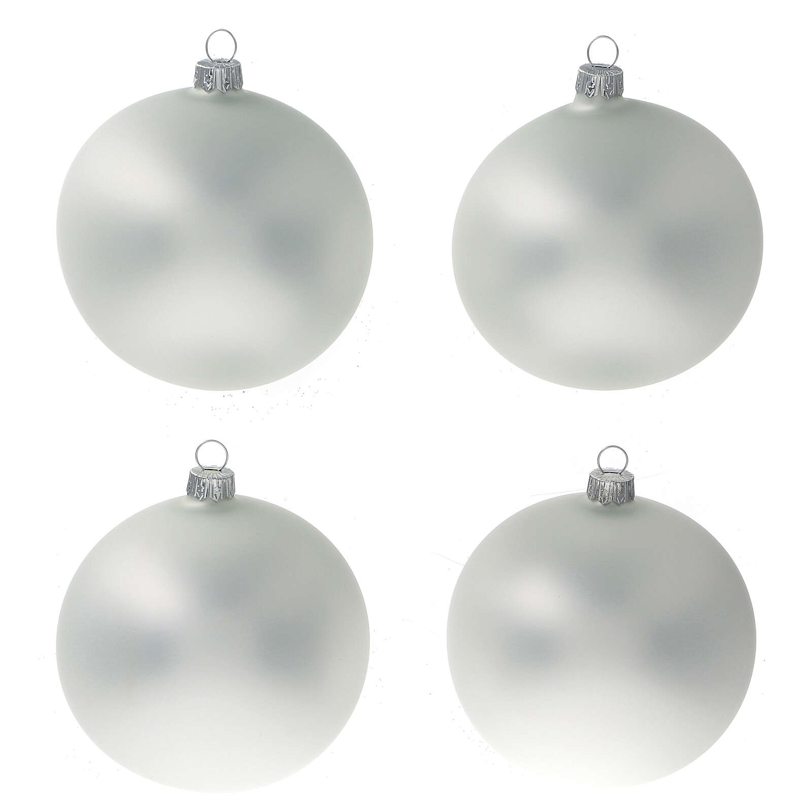 Matt pearl grey ball Christmas tree blown glass 100 mm 4 pcs 4