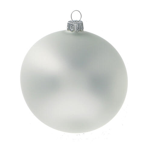 Matt pearl grey ball Christmas tree blown glass 100 mm 4 pcs 2
