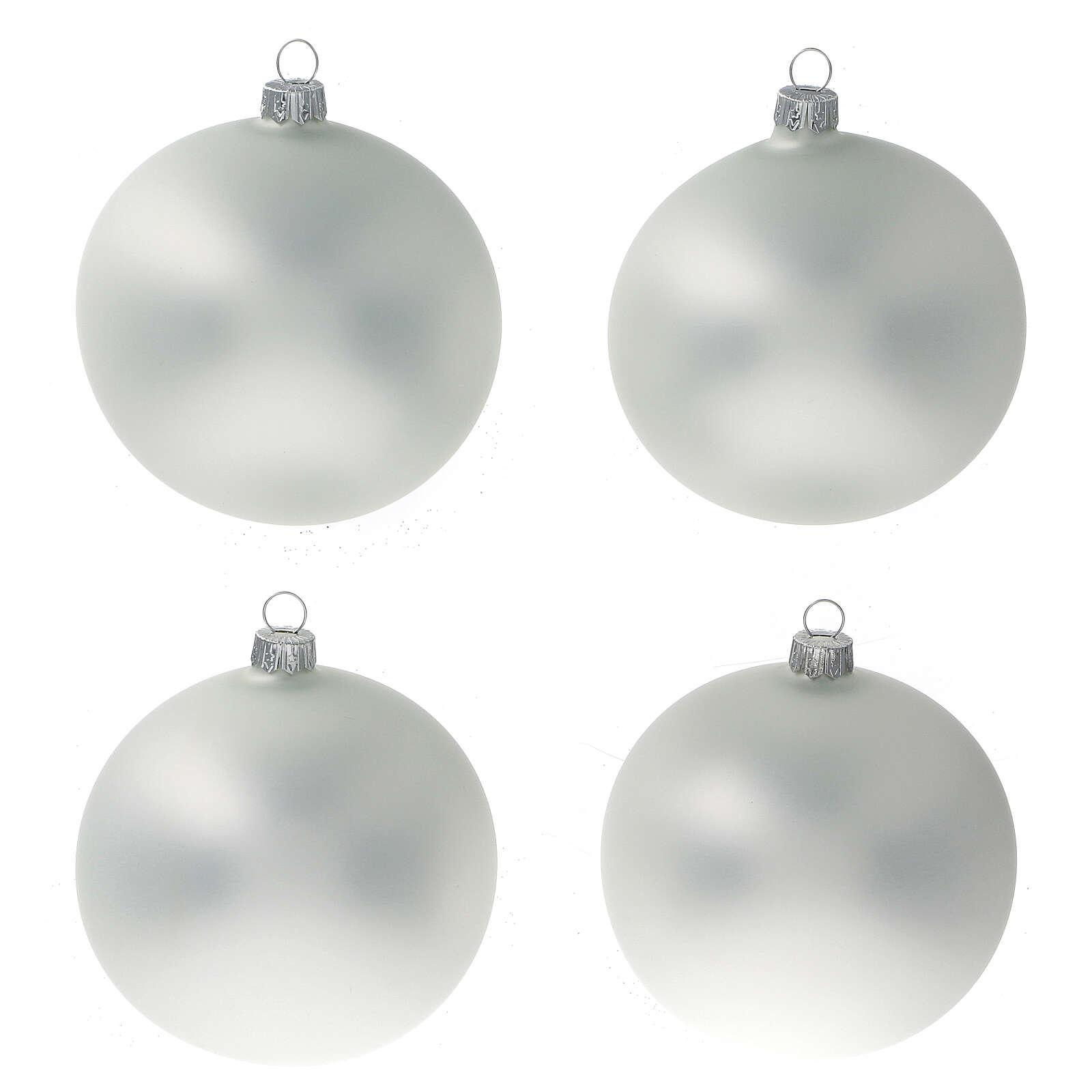 Boule gris perle mat sapin Noël verre soufflé 100 mm 4 pcs 4