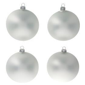 Boule gris perle mat sapin Noël verre soufflé 100 mm 4 pcs s1