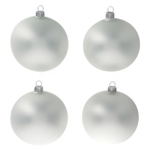 Boule gris perle mat sapin Noël verre soufflé 100 mm 4 pcs 1