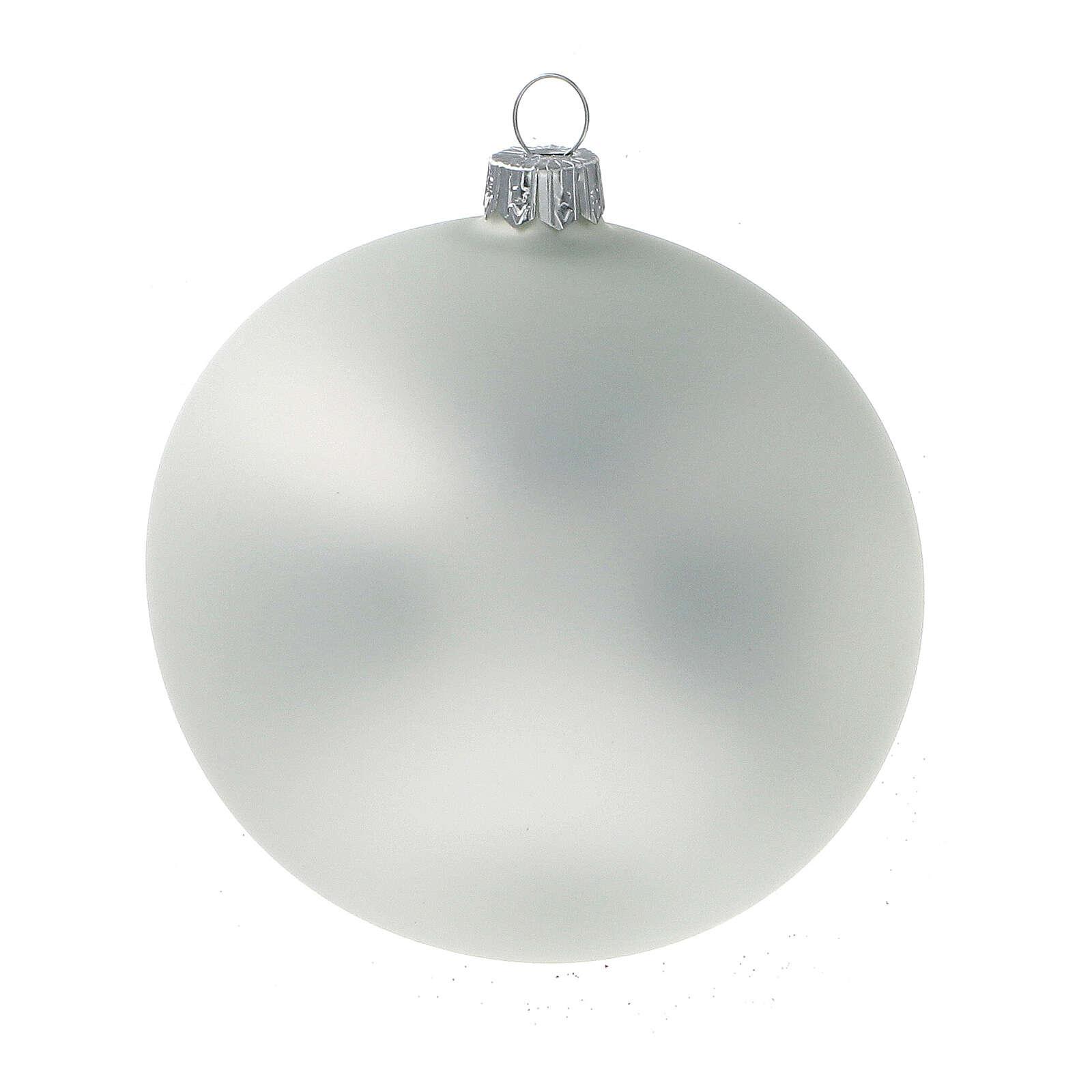 Christmas ball ornament matte pearl greyblown glass 100 mm 4 pcs 4