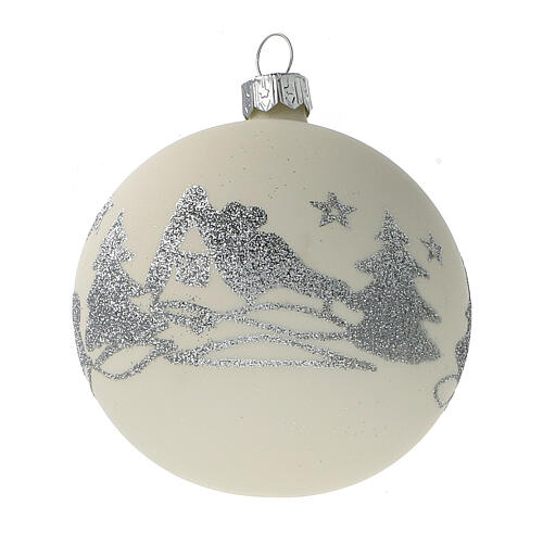 Christmas balls white silver glitter blown glass set 24 80 mm 3