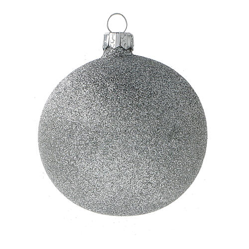 Christmas balls white silver glitter blown glass set 24 80 mm 4