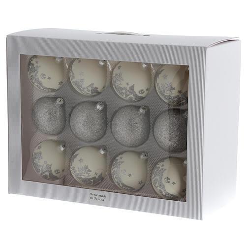 Christmas balls white silver glitter blown glass set 24 80 mm 5