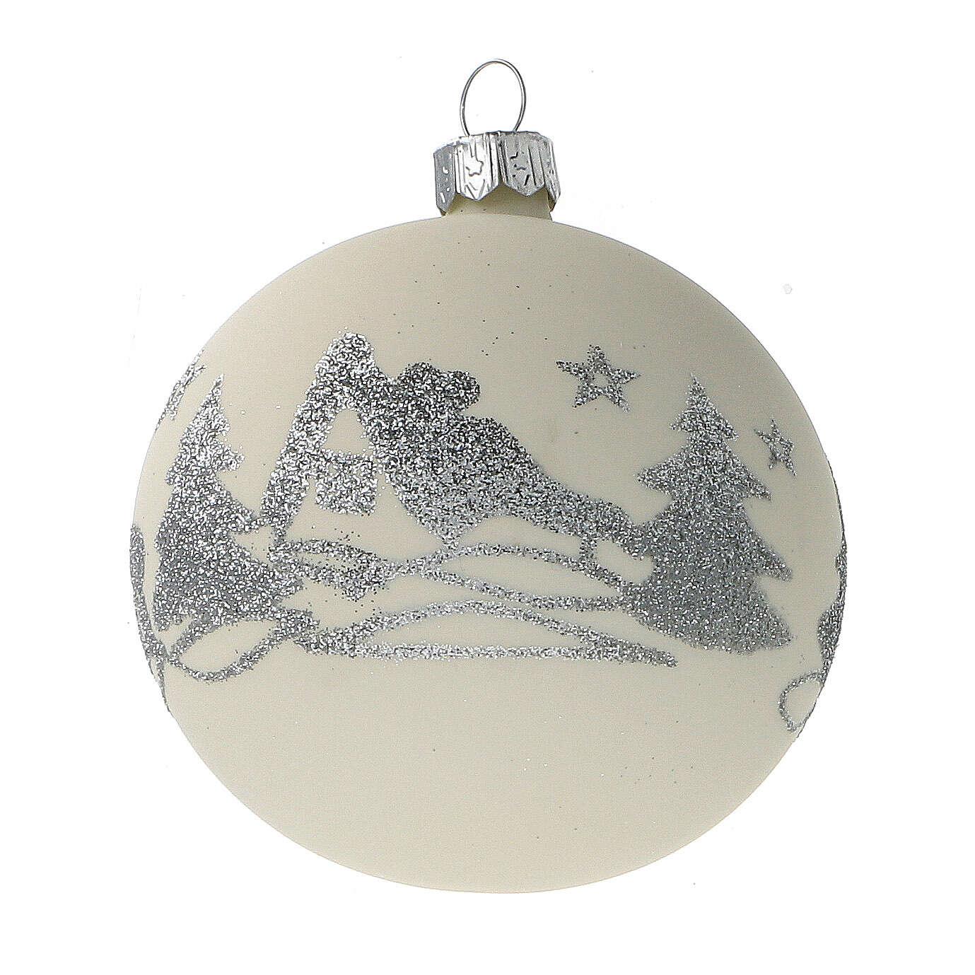Boules Noël blanc argent paillettes verre soufflé set 24 pcs 80 mm 4
