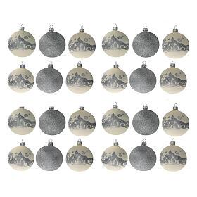 Palline Natale bianco argento glitter vetro soffiato set da 24 80 mm s1