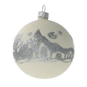 Palline Natale bianco argento glitter vetro soffiato set da 24 80 mm s2