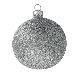 Palline Natale bianco argento glitter vetro soffiato set da 24 80 mm s4