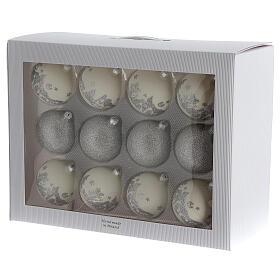 Bolas árvore de Natal vidro soprado branco branco e glitter prata 80 mm 24 unidades s5