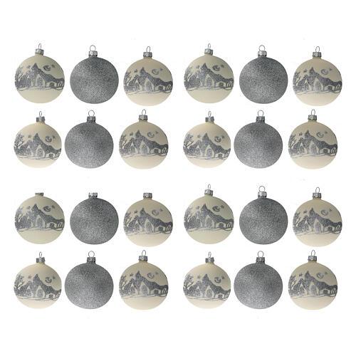 Bolas árvore de Natal vidro soprado branco branco e glitter prata 80 mm 24 unidades 1