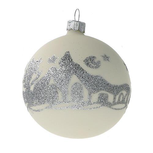 Bolas árvore de Natal vidro soprado branco branco e glitter prata 80 mm 24 unidades 2